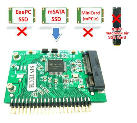 sintech msata ssd to 44pin ide adapter as 1 8 toshiba hdd for ibm laptop ebay