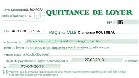 exemple quittance de loyer completee   Document Online