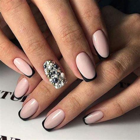 nägel matt schwarz современный дизайн ногтей 2017 френч с рисунком на фото