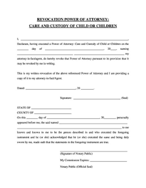 26 Printable Revocation Of Power Of Attorney Form Templates Fillable Sles In Pdf Word To Power Of Attorney For Child Template