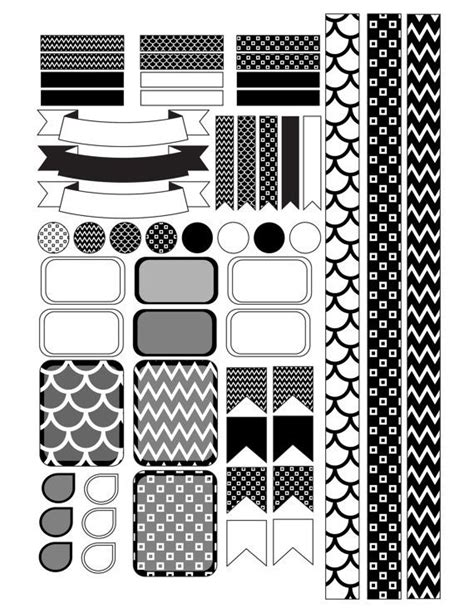 printable planner black and white planner stickers erin condren planner stickers printable