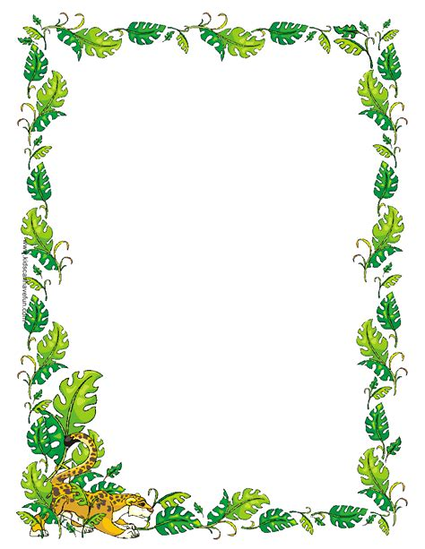 printable jungle paper pin summer stationary borders on pinterest