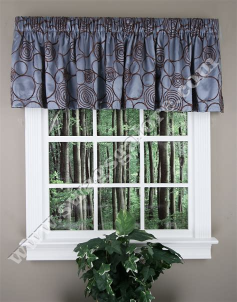 Blue And Brown Window Valance Circle Charm Tailored Valance Blue Brown Lush Decor