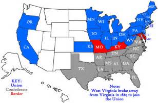 Northern States Map by Border State Civil War Secession Border States Slavery Map