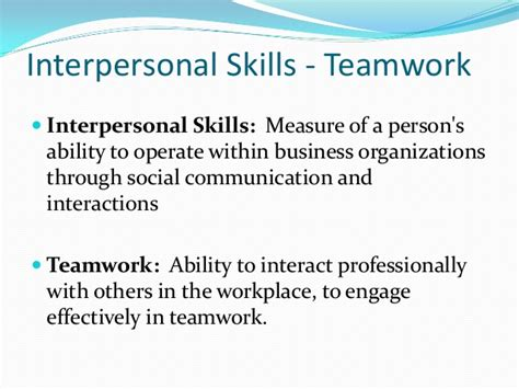 team work interpersonal skills