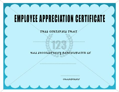 employee appreciation certificate templates great employee appreciation certificate exle with teal