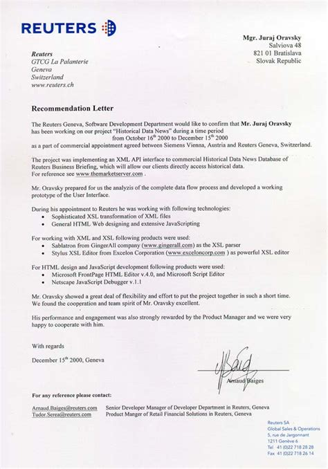 Zeugnis Reference Letter Switzerland Reuters