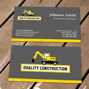 construction business cards templates construction manager yellow excavator business card