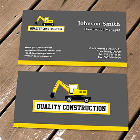 construction business card template construction site construction site yellow card