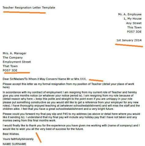 resignation letter template teacher images