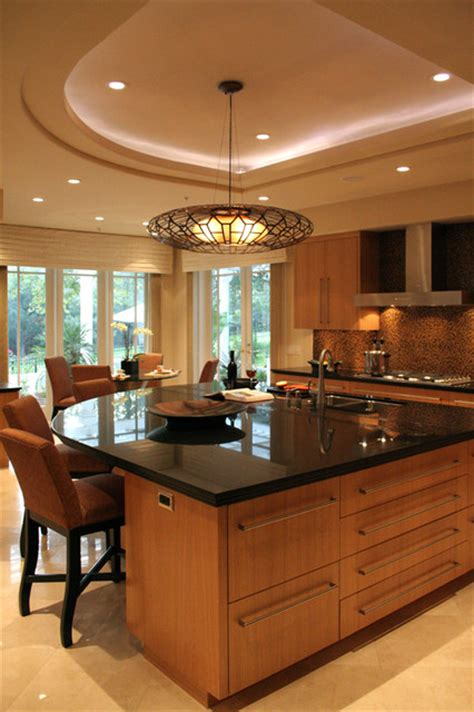 curved kitchen island and soffitt contemporary kitchen