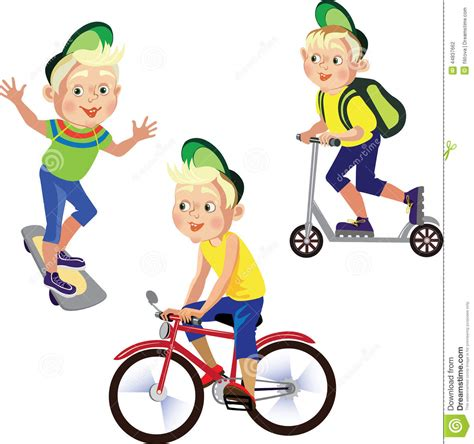 clipart bimbi set drawings boy on a bicycle skateboard scooter stock