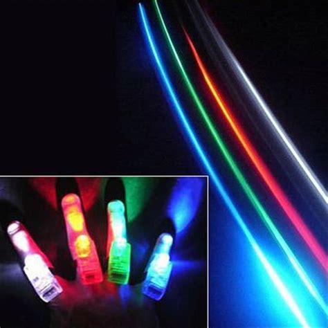 Laser Finger Light 4 X Led 100 finger lights led beams supplies laser rings raves neon glow ls edc ebay