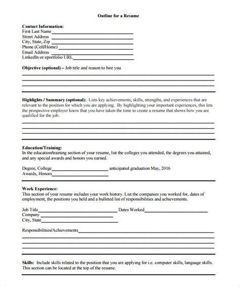 resume outline exle blank resume templates pdf resume and cover letter