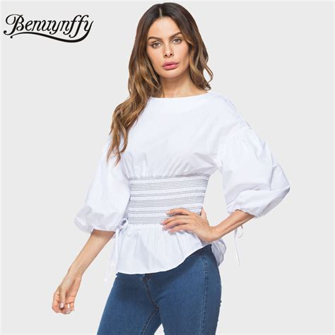 Blouse New Puff benuynffy new arrival puff sleeve blouse tops fashion 2018 elastic waist tie 3 4