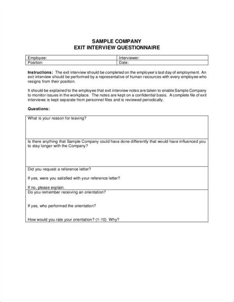 6 Exit Interview Forms Sles Templates Sle Templates Employer Questions Template