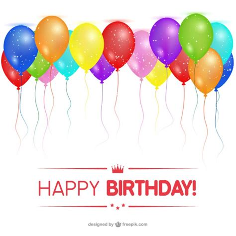 Free Happy Birthday Cards Happy Birthday Card With Balloons Vector Free Download