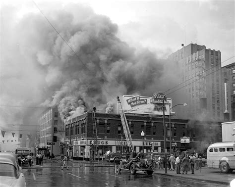 barber downtown des moines city drug fire september 6 1953 this photo is looking