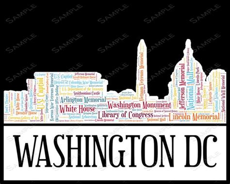 Wedding Anniversary Ideas Washington Dc by Personalized Washington Dc Skyline Birthday Gifts Birthday