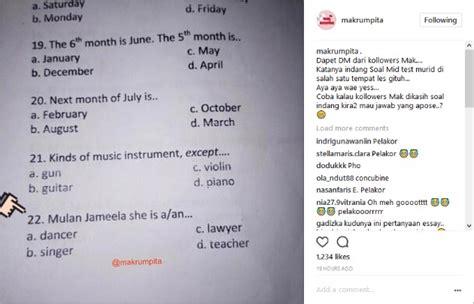 Celetuk Bahasa mulan jadi soal ujian bahas inggris netter masih sindir isu rebut suami maia kabar berita