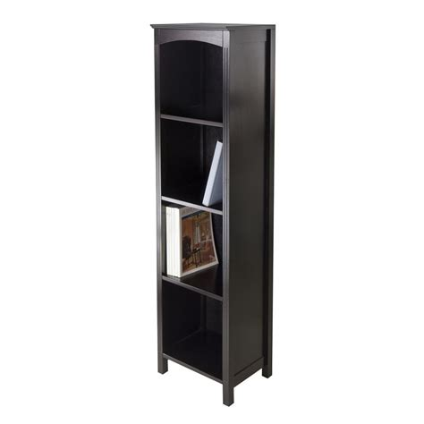 shop winsome wood terrace espresso 4 shelf bookcase at