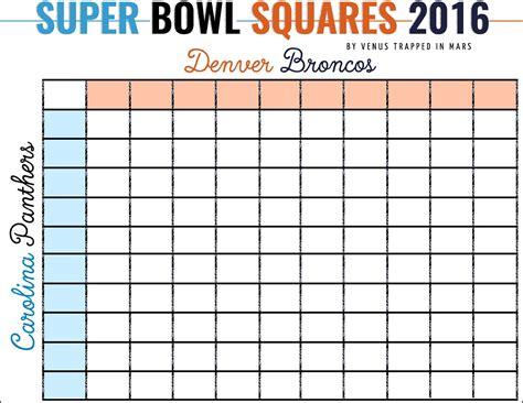 Bowl Betting Pool Template by Bowl Squares 2016 Denver Broncos Vs Carolina