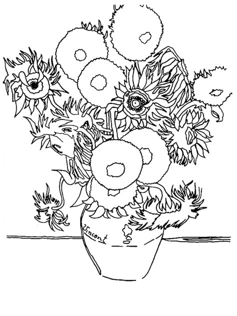 coloring pages vincent van gogh sunflowers by vincent van gogh coloring page az coloring