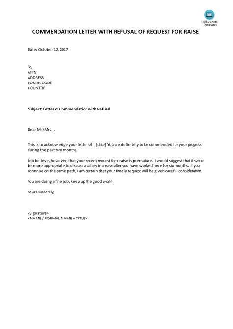 commendation letter refusal request raise