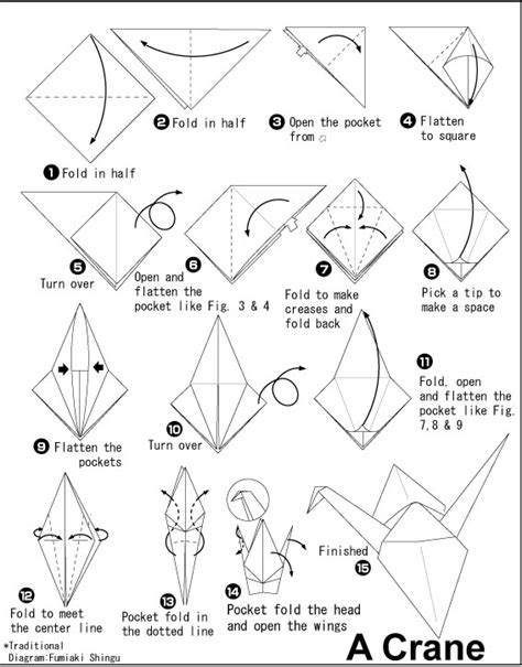 Origami Crane Pattern - how to fold an origami crane