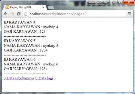 membuat halaman index dengan html membuat halaman paging dengan mysql php bangbedu