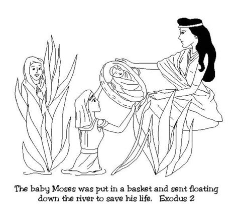 coloring pages for baby moses in the river baby moses was found after floating down on nile river