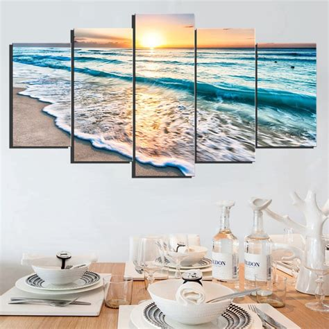 ocean decorations for home 5 panels wall art sunset beach canvas prints sea wave