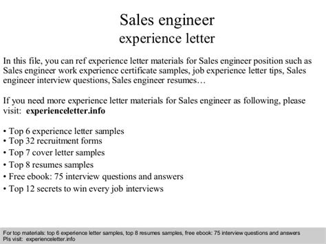Experience Letter Of Engineer Sales Engineer Experience Letter