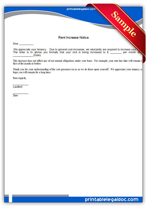 Letter Advising Increase In Rent Free Printable Rent Increase Notice Form Generic
