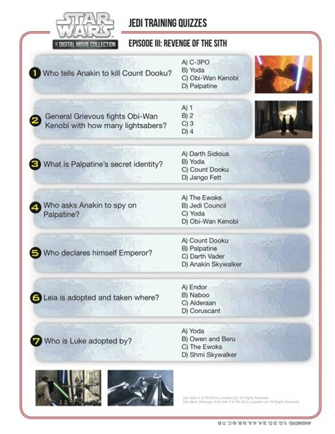 printable star wars quiz questions jedi training quiz star wars episode iii revenge of the
