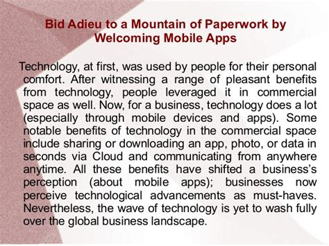 bid adieu bid adieu to a mountain of paperwork by welcoming mobile apps