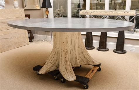 tree trunk dining table with zinc top image 2