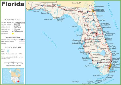 florida in usa map map of florida