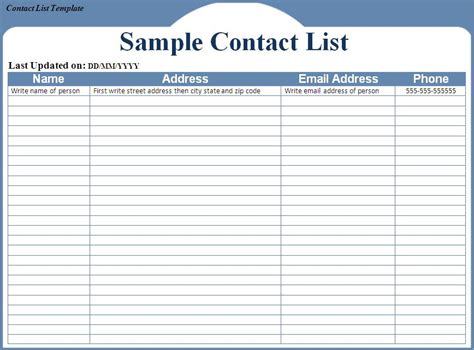 contact information list template contact list template word excel formats