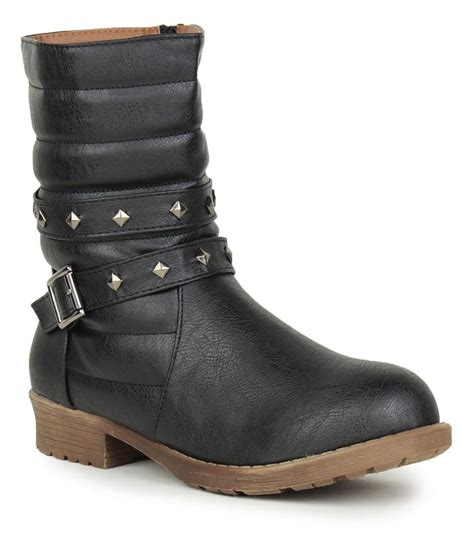 stylistry black faux leather flat mid calf boots