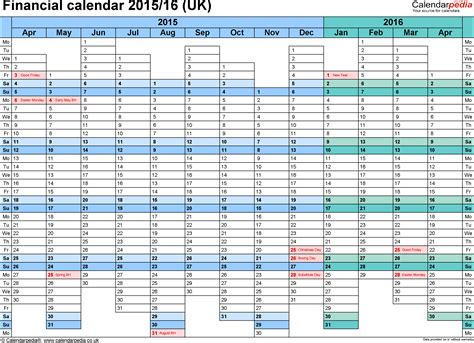 Excel Calendar Template 2015 Financial Calendars 2015 16 Uk In Microsoft Excel Format