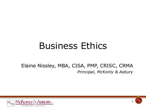 Business Ethics Notes For Mba Ppt by Mckonly Asbury Webinar Business And Personal Ethics