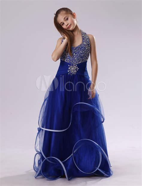 Id 877 Blue Flower Dress フラワーガールドレス aライン ホルターネック フロアレングス シークイン ロイヤルブルー milanoo jp