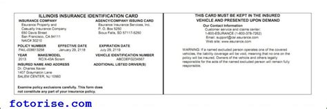 illinois auto insurance card template fotorise com