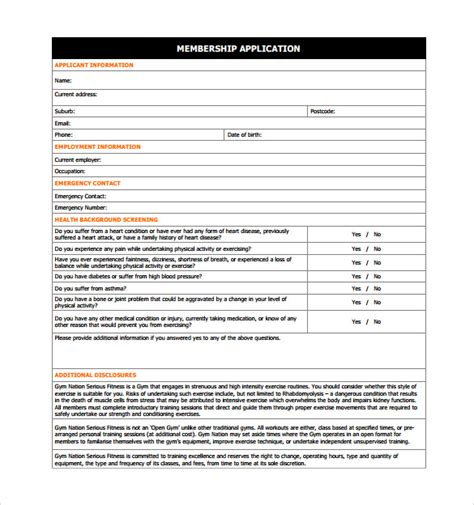 11 Gym Contract Templates To Download For Free Sle Templates Membership Application Template