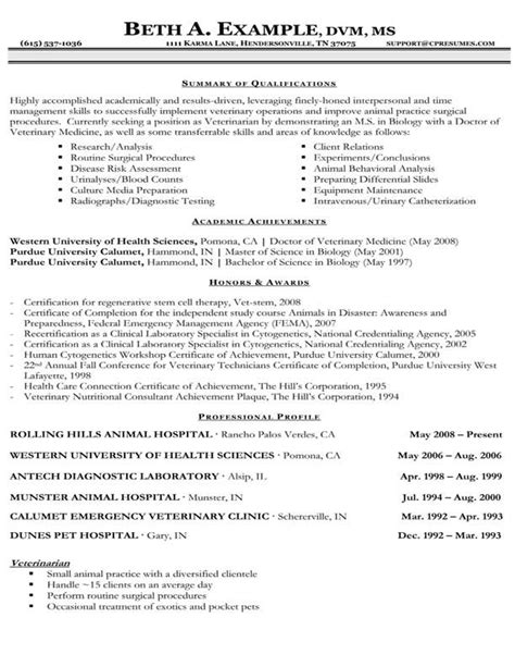 Veterinary Resume Exles Resume Sles Types Of Resume Formats Exles And Templates
