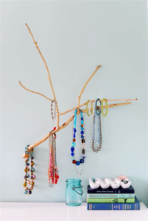 Bathroom Counter Storage Ideas diy branch jewelry holder