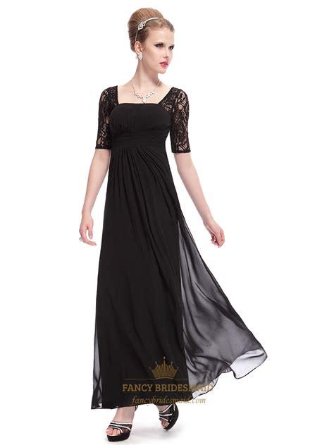 black empire waist ruched long bridesmaid dress  lace