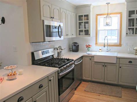 corian linen counters gray cabinets farmhouse sink