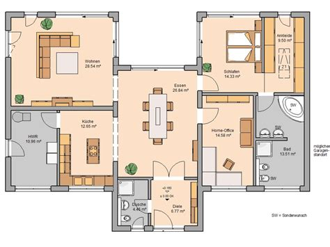 Grundriss Haus Bungalow by Bungalow Fokus Kern Haus Mit Schmetterlingsdach